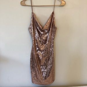 Rose Gold Sequin Cowl Neck Mini Dress